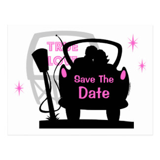 Drive In Newlyweds Save The Date Postcard