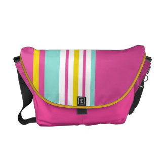 Drive in the Fast Lane Pink Yellow and Aqua Courier Bag