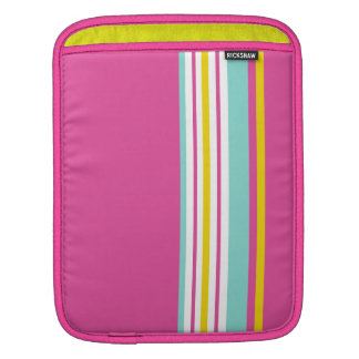 Drive in the Fast Lane Pink Yellow and Aqua iPad Sleeves