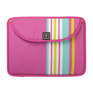 Drive in the Fast Lane Pink Yellow and Aqua MacBook Pro Sleeve
