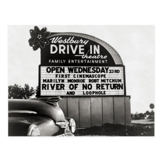 Drive-In Theater, 1954 Postcard