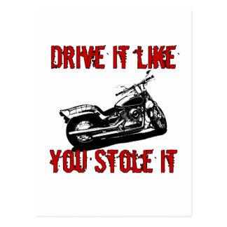 Drive it like you stole it - Bike/Chopper Postcard