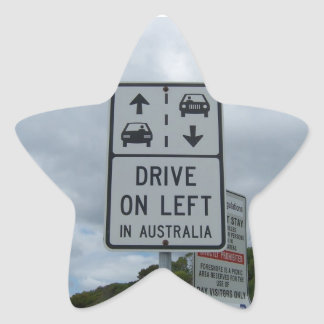 Drive On Left in Australia Sign Star Sticker
