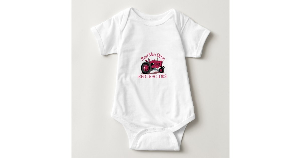 7529a6827629 Drive Red Tractors Baby Bodysuit