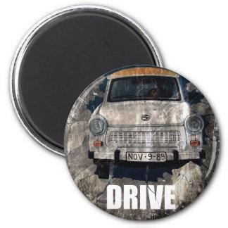 Drive Safe Retro Car 2 Inch Round Magnet