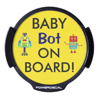 Drive Safely LED Baby Robot On Board Window Decal LED Car Window Decal