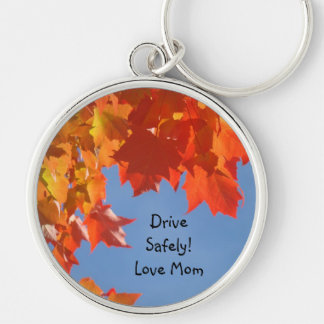 Drive Safely! Love Mom keychains Colorful Leaves