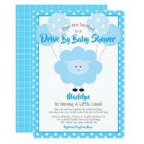 Drive Through Baby Shower, Cute Blue Lamb Modern Invitation