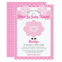 Drive Through Baby Shower, Cute Pink Lamb Modern Invitation