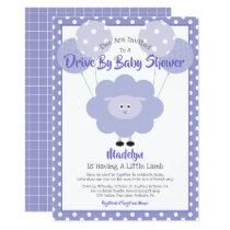 Drive Through Baby Shower, Cute Purple Lamb Modern Invitation