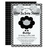 Drive Through Baby Shower, Modern Black White Lamb Invitation