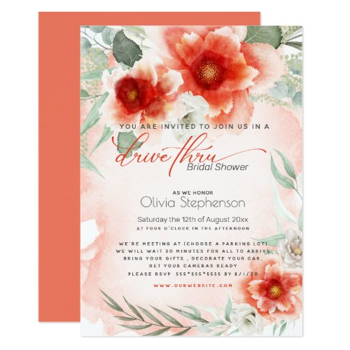 Drive-thru Bridal Shower Bold Coral Flower Invitation