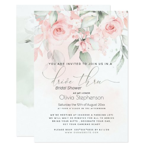 Drive Thru Bridal Shower Vintage Blush Pink Roses Invitation