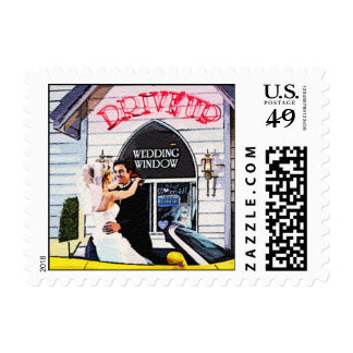 Drive Up Wedding Postage Stamps