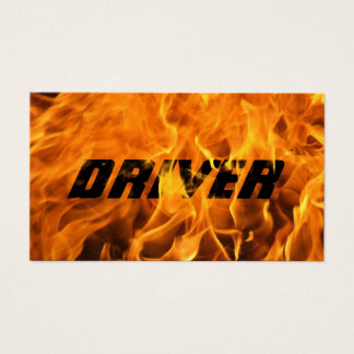 Driver Cool Burning Fire Flame Typography Business Card