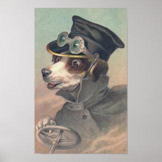 """""""Driver Dog"""" Vintage Illustration Poster"""