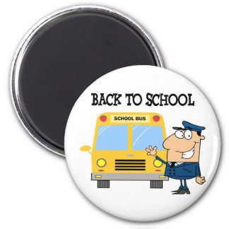 Driver In Front of School Bus 2 Inch Round Magnet