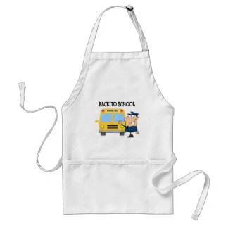 Driver In Front of School Bus Adult Apron