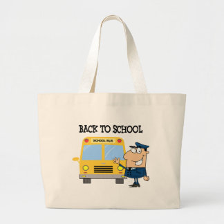 Driver In Front of School Bus Canvas Bags