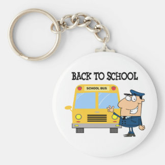 Driver In Front of School Bus Keychains