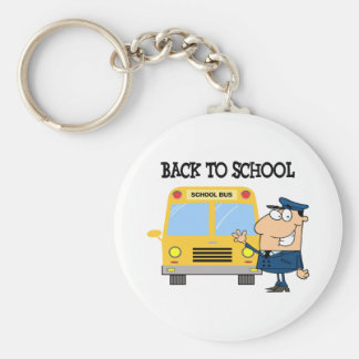 Driver In Front of School Bus Key Chains
