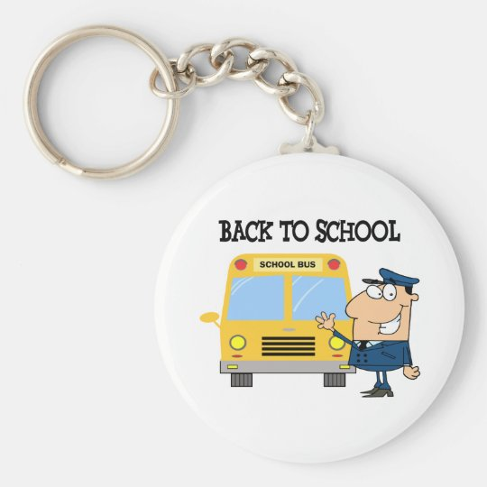 Driver In Front of School Bus Keychain