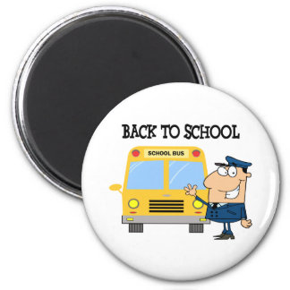 Driver In Front of School Bus Refrigerator Magnet