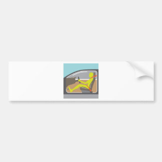 Driver in the car seat belt bumper sticker