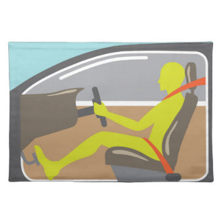 Driver in the car seat belt cloth placemat