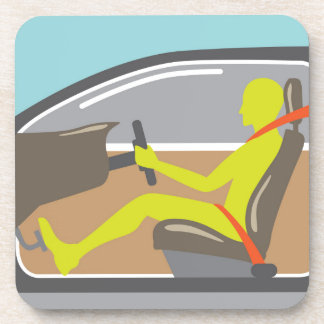 Driver in the car seat belt coaster