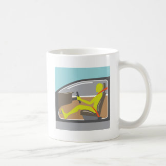 Driver in the car seat belt coffee mug