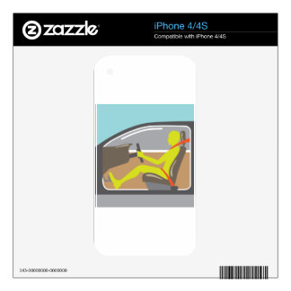 Driver in the car seat belt decal for the iPhone 4S
