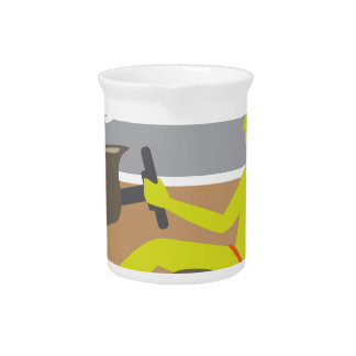 Driver in the car seat belt pitcher