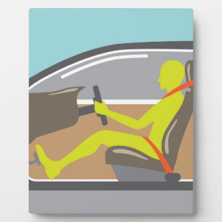Driver in the car seat belt plaque