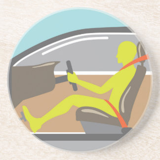 Driver in the car seat belt sandstone coaster