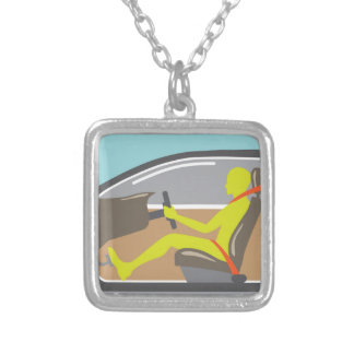 Driver in the car seat belt silver plated necklace