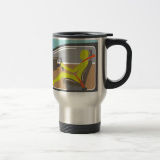 Driver in the car seat belt travel mug