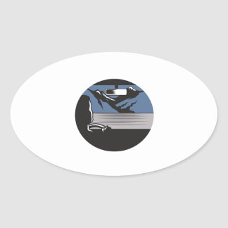 Driver Looking Mountain Pass Oval Woodcut Oval Sticker
