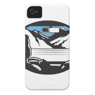 Driver Looking Up Mountain Car Windshield Oval Woo iPhone 4 Case