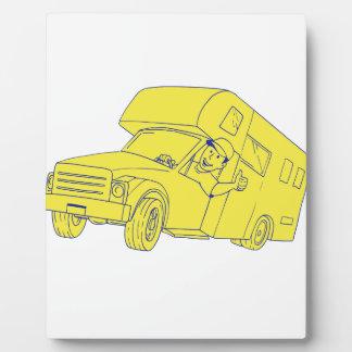 Driver Thumbs Up Camper Van Cartoon Plaque