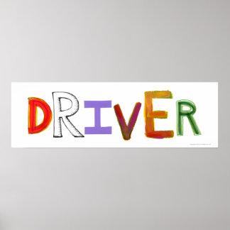 Driver word art chauffeur designated sober poster