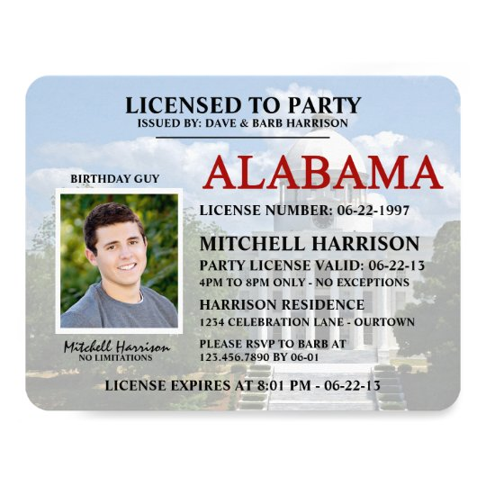 Drivers License Alabama Birthday Invitations