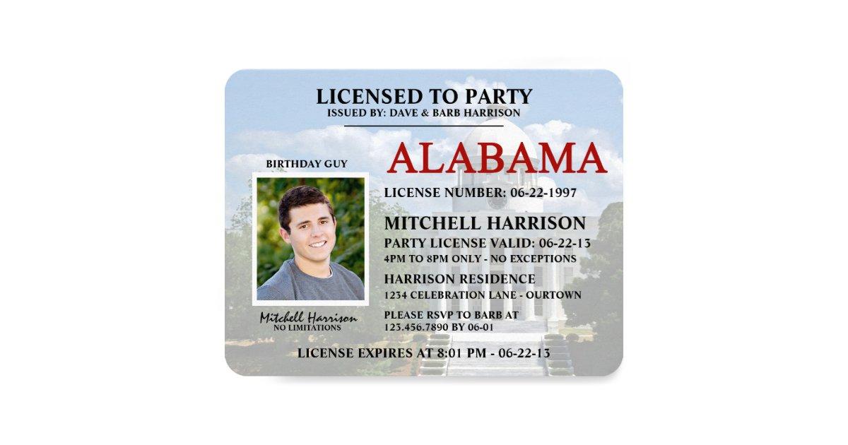 Drivers License Alabama Birthday Invitations | Zazzle