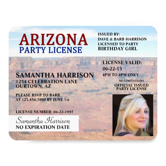 Drivers License Arizona Birthday Invitations