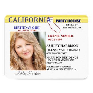Drivers License California Birthday Invitations