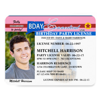 Drivers License Connecticut Birthday Invitations