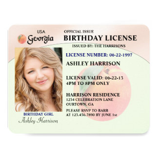 Drivers License Georgia Birthday Invitations