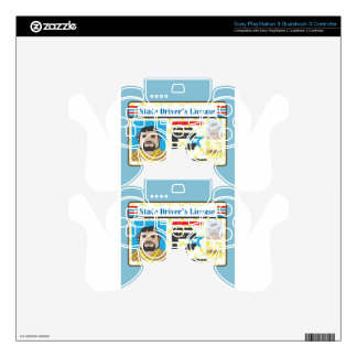 Driver's License Man photo ID vector Decal For PS3 Controller