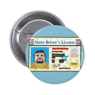 Driver's License Man photo ID vector Pinback Button
