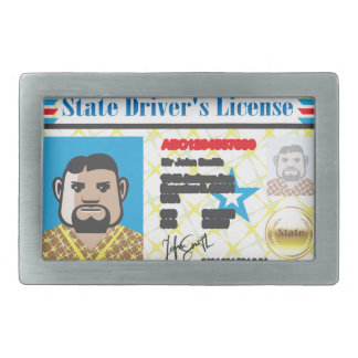 Driver's License Man photo ID vector Rectangular Belt Buckle